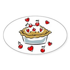I Love (Heart) Cherry Pie Oval Decal