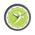 Base Clef Green Wall Clock