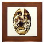 Mother & Daughter Knitting Framed Tile