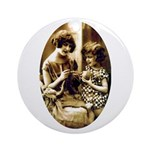 Mother & Daughter Knitting Ornament (Round)
