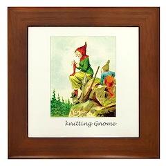 Knitting Gnome Framed Tile