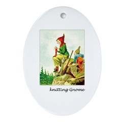 Knitting Gnome Oval Ornament