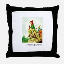 Knitting Gnome Throw Pillow