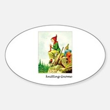 Knitting Gnome Oval Decal