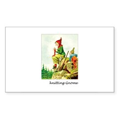 Knitting Gnome Rectangle Decal