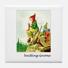 Knitting Gnome Tile Coaster
