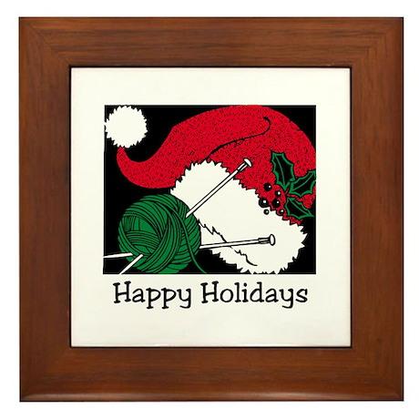 Knitting - Happy Holidays Framed Tile