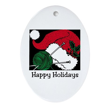 Knitting - Happy Holidays Oval Ornament