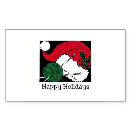 Knitting - Happy Holidays Rectangle Sticker
