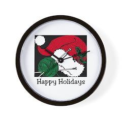 Knitting - Happy Holidays Wall Clock