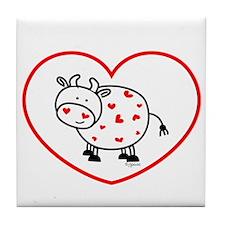 lil love cow Tile Coaster