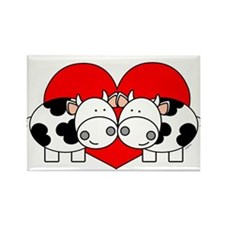 Love Cows (red) Rectangle Magnet (100 pack)
