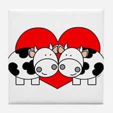 Love Cows (red) Tile Coaster