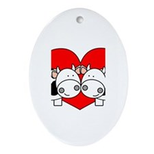 Love Cows (red) Oval Ornament