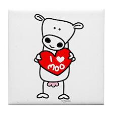 I Love Moo Tile Coaster