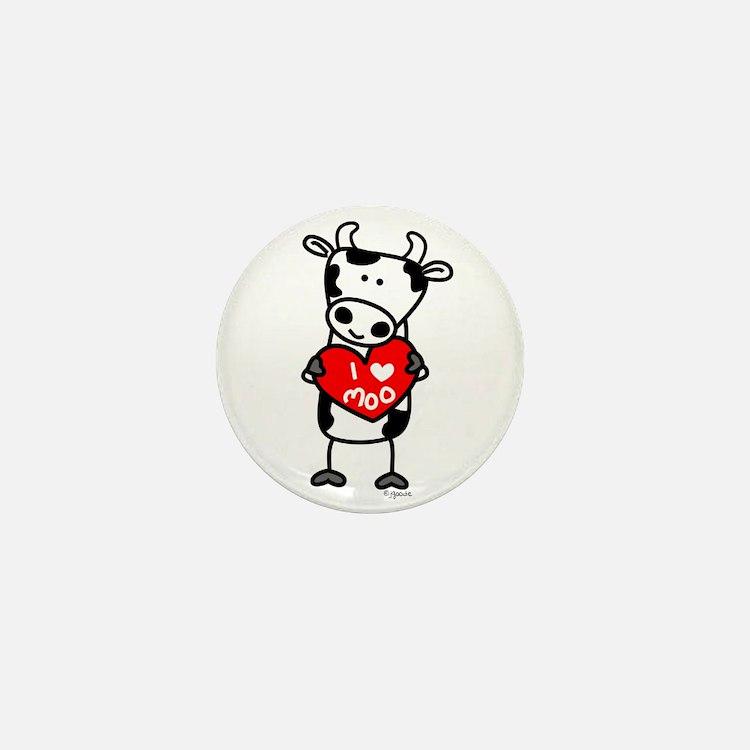 I Love Moo Cow Mini Button