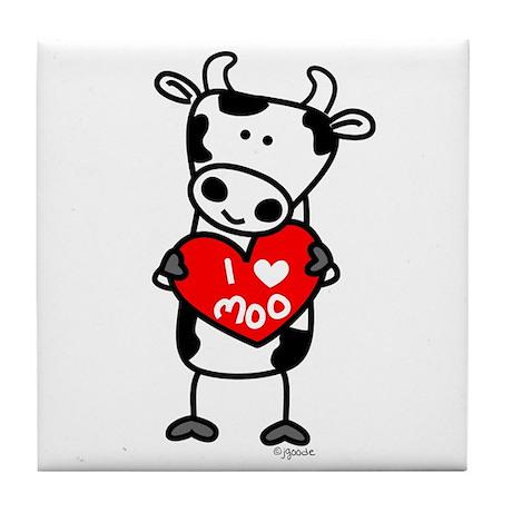 I Love Moo Cow Tile Coaster