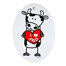 I Love Moo Cow Oval Ornament