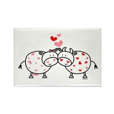 Cows in Love Rectangle Magnet (100 pack)