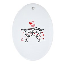 Cows in Love Oval Ornament
