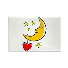 Moon and Heart Rectangle Magnet