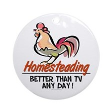 Homestead Rooster Ornament (Round)