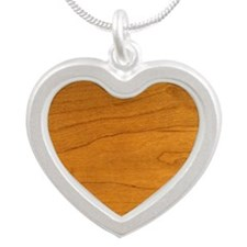 Cherry Wood Grain Silver Heart Necklace