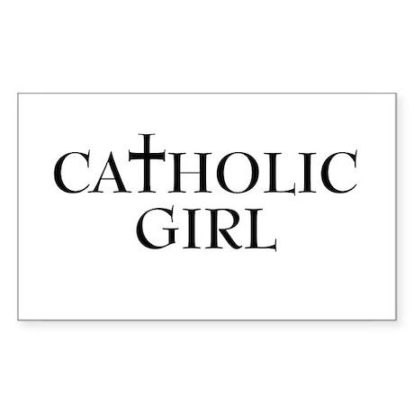 CATHOLIC GIRL T-SHIRT CATHOLI Sticker (Rectangular