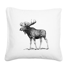 Moose Sketch Square Canvas Pillow