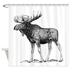 Moose Sketch Shower Curtain