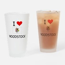 I Love WOODSTOCK Illinois Drinking Glass