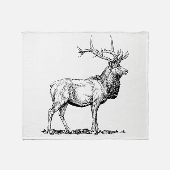 Elk Sketch Throw Blanket