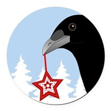 Yuletide Crow Round Car Magnet