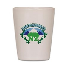 Awesome NZ New Zealand with Mountains Shot Glass