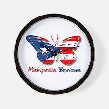 Mariposa Boricua Wall Clock