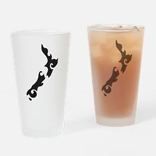 NZ New Zealand map tattoo style Drinking Glass
