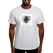 Lhasa Apso Black Valentine Heart Ash Grey T-Shirt