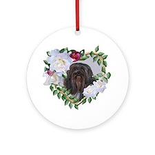 Lhasa Apso Black Valentine Heart Ornament (Round)