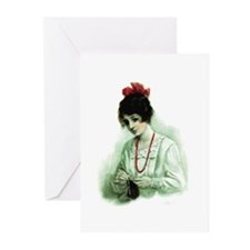 Knitting - Victorian Knitter Greeting Cards (Pk of