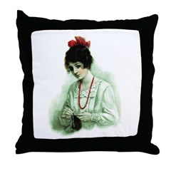 Knitting - Victorian Knitter Throw Pillow