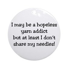 Knitting - Don't Share Needles Ornament (Round)