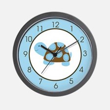 Blue Mod Turtle Wall Clock