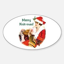 Merry Knit-mas Oval Decal