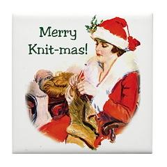 Merry Knit-mas Tile Coaster