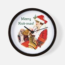 Merry Knit-mas Wall Clock