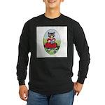 Knittting Kitty Long Sleeve Dark T-Shirt
