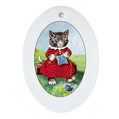 Knittting Kitty Oval Ornament