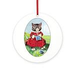 Knittting Kitty Ornament (Round)