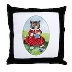 Knittting Kitty Throw Pillow