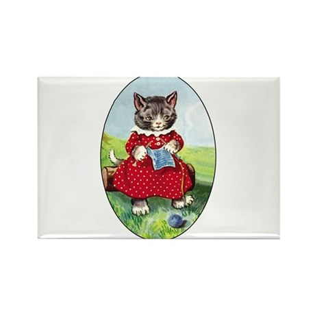 Knittting Kitty Rectangle Magnet